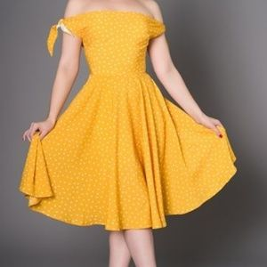Sheen brand Beautiful Retro Yellow Sundress As L